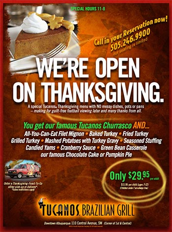 We're Open on Thanksgiving