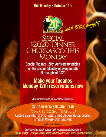 Special $20.20 Dinner Churrasco This Monday